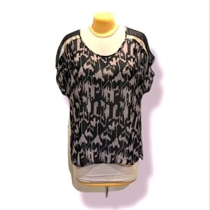Addition Elle 18 Sheer Patterned Black and Tan Tunic with Gold Sequin Shoulder